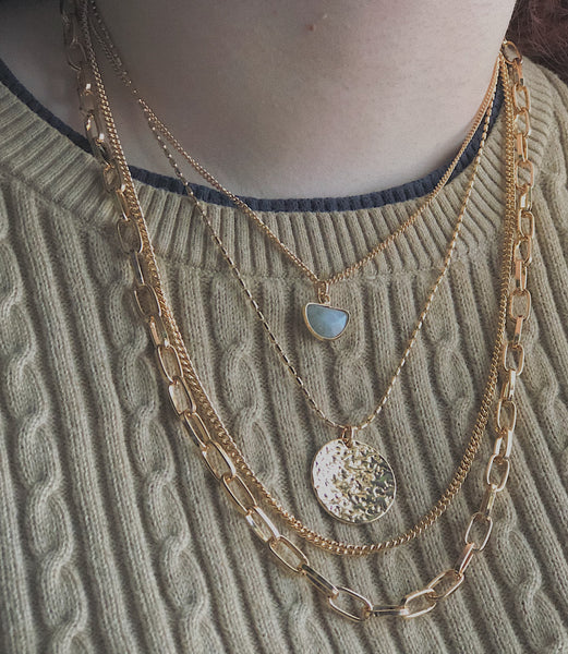 Gold Multi Layer Fashion Necklace