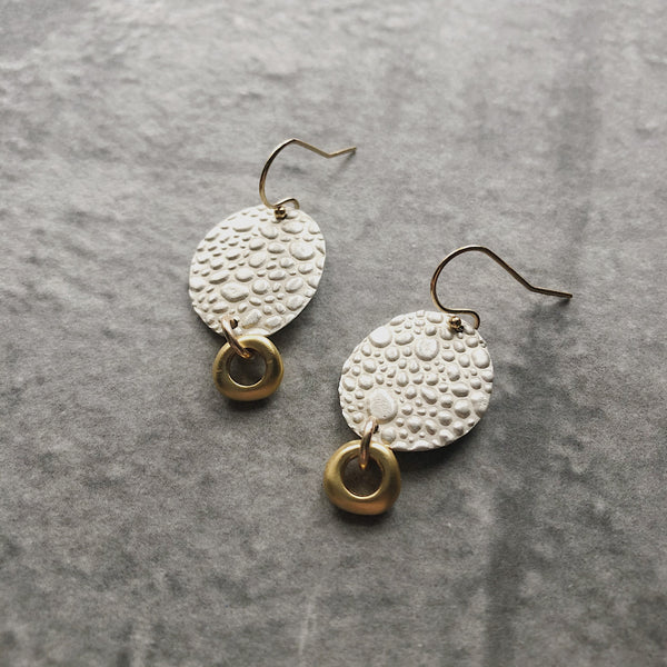 Silver & Gold Pebbled Texture Stack Earrings