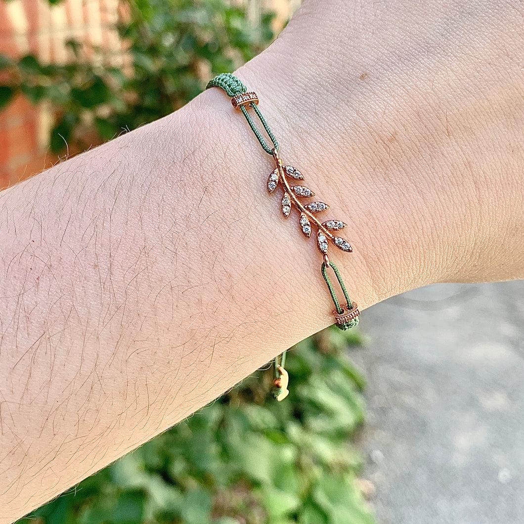 Green Cord Bracelet with Rose Gold Cubic Vine