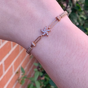 Tan Cord Bracelet with Rose Gold Curvy Star