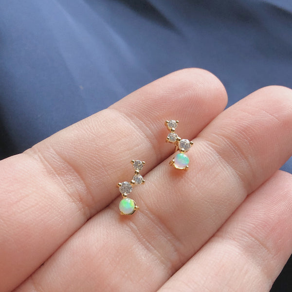 CZ  & Opal Cluster Studs | Gold