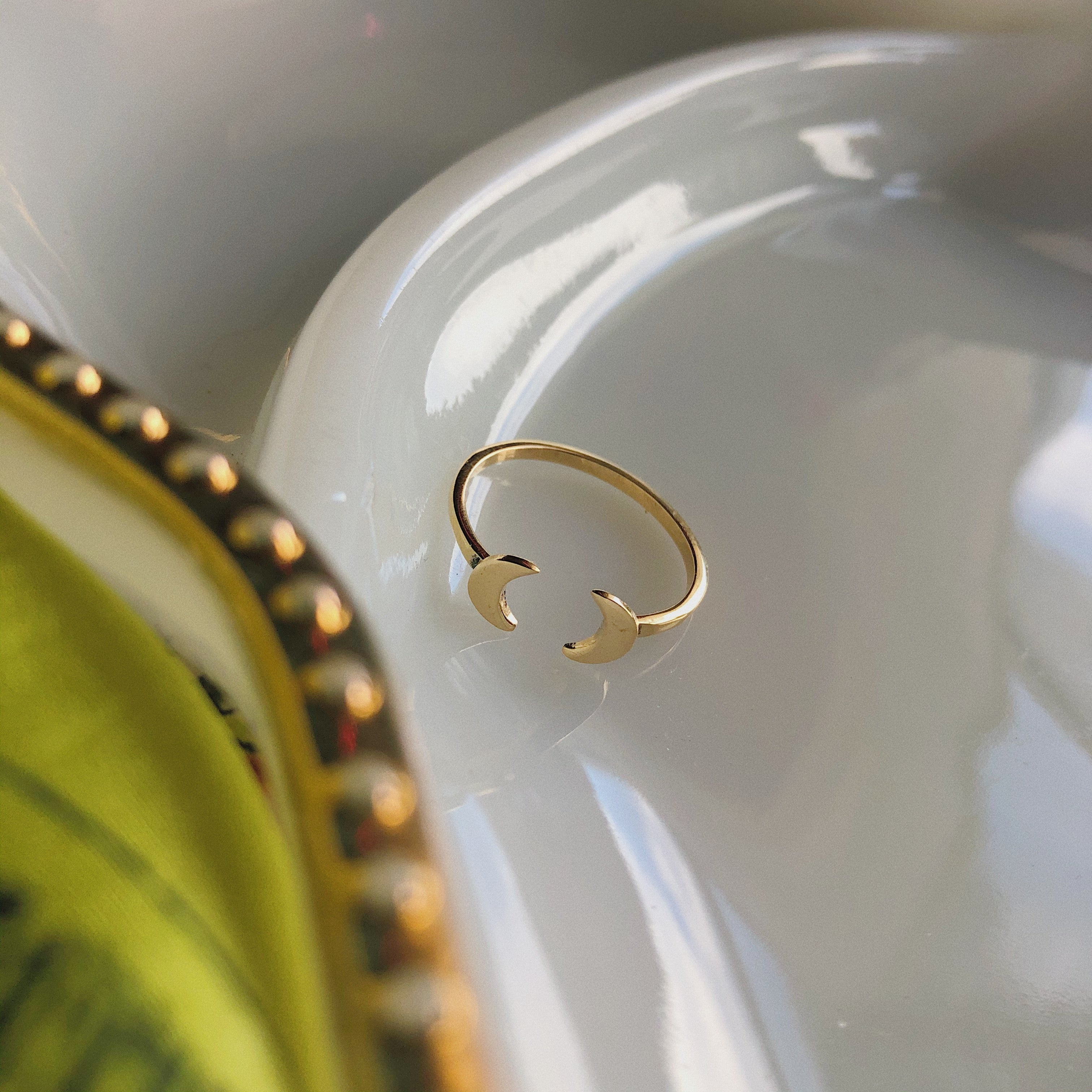 Mirrored Moons Ring | Brass