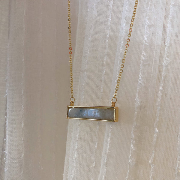 Delicate Gold Stone Bar Necklace | Grey