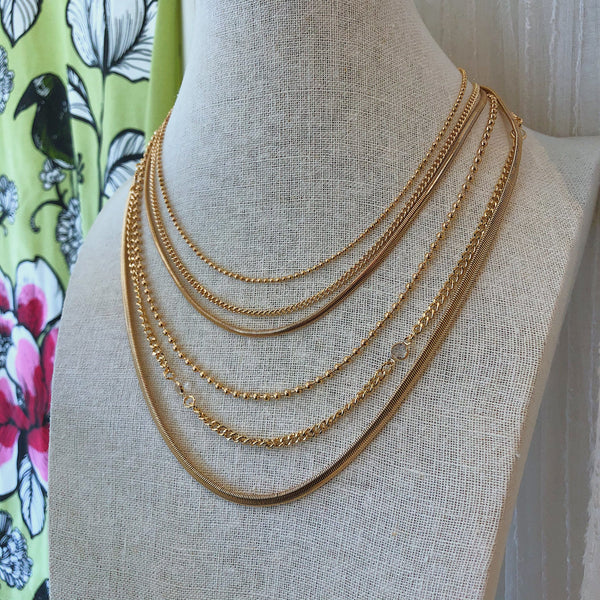Gold Layered Chain Necklace With Clear Crystals