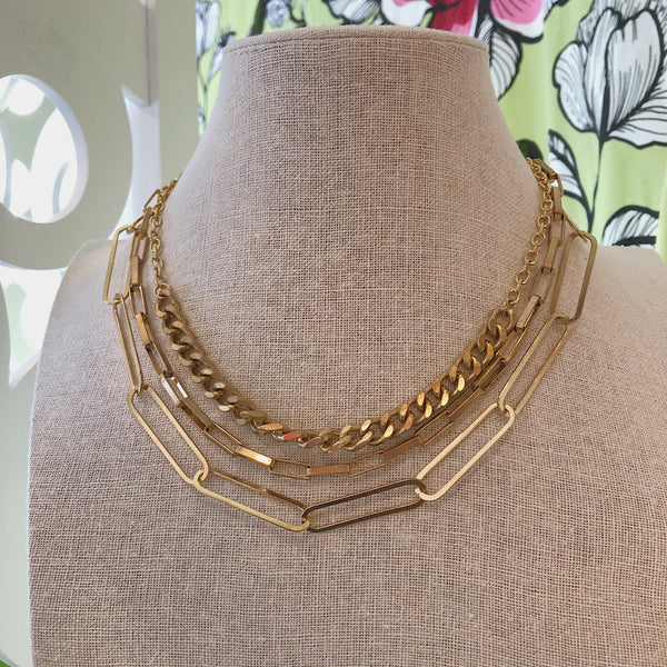 Gold Statement Layered Chain Necklace