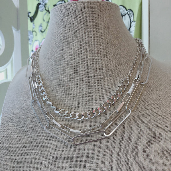 Silver Statement Layered Chain Necklace