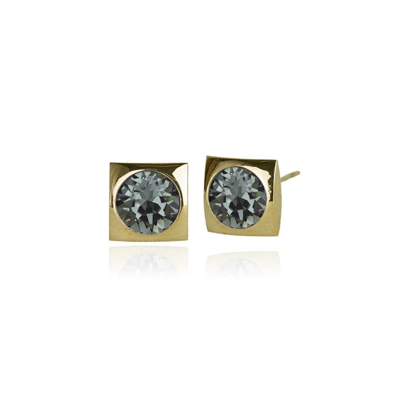 Classic Square Crystal Stud | Black Diamond / Gold