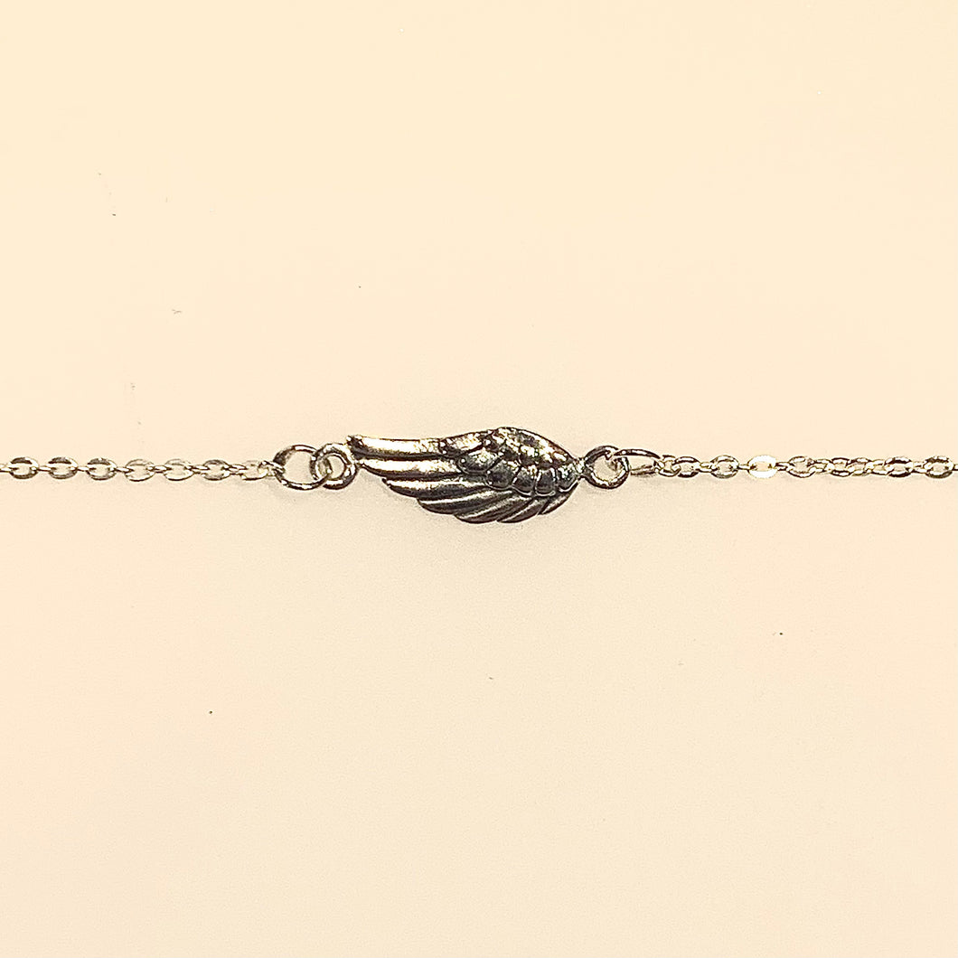 Sterling Silver Plain Angel Wing Bracelet