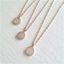 Druzy Drop Necklace | Light