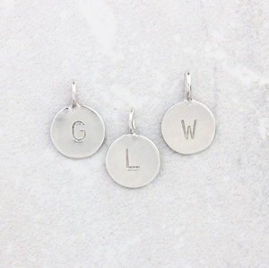 Tiny Letter Charm | Silver