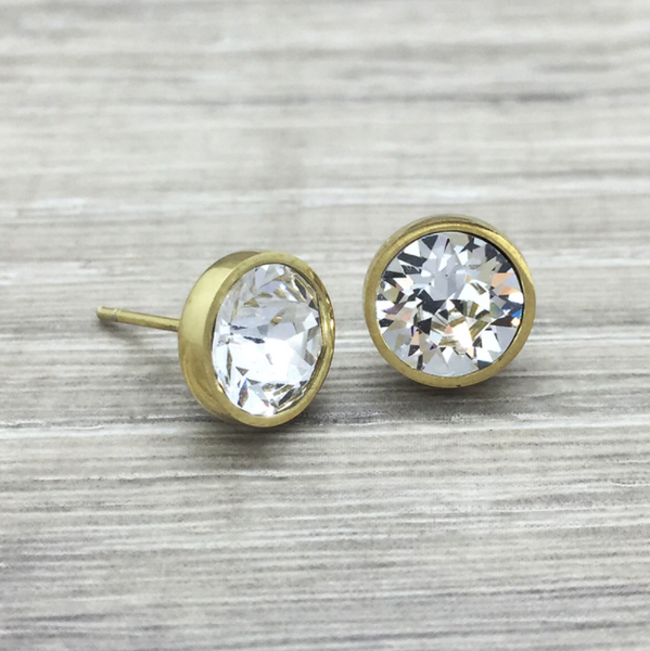 Luxe Crystal Studs | Clear & Gold