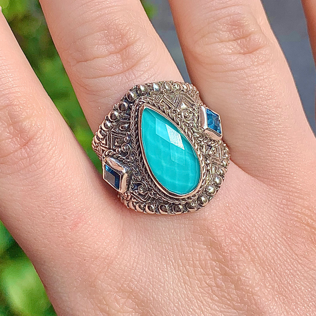 Mexican Turquoise MOP Qtz & Swiss Blue Topaz Ring