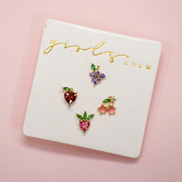 Fruit Basket Stud Set | Gold