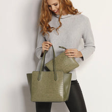 Load image into Gallery viewer, Franco Tote- Croc Khaki