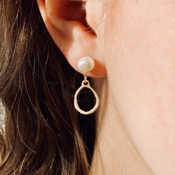 Gold Tear Drop and Pearl Studs