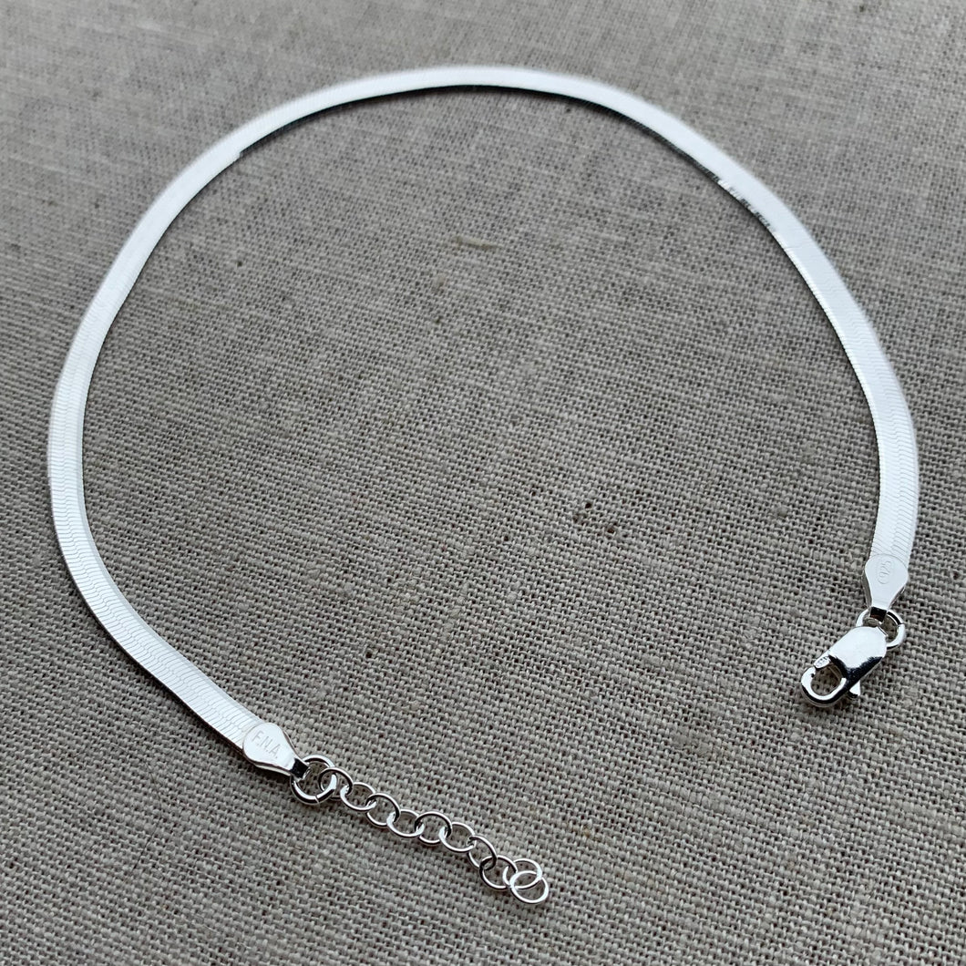 Sterling Herringbone Anklet