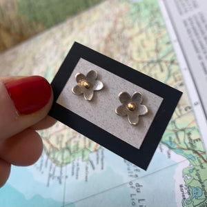 Sterling Flower Studs with 10kt Center