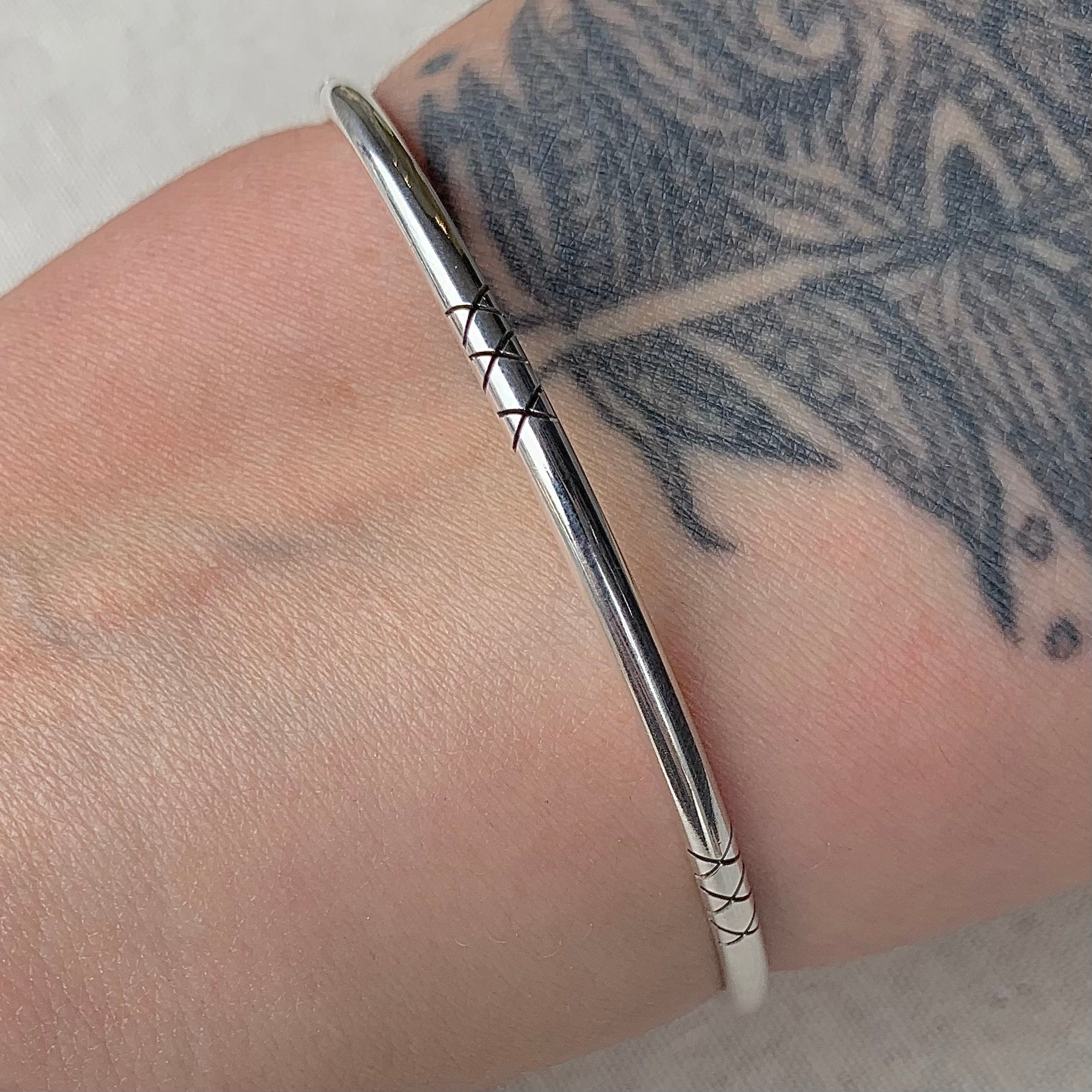 Simple Sterling Bangle with X Details