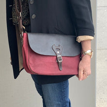 Load image into Gallery viewer, Canvas Shoulder Bag with Leather Trim | Burgundy
