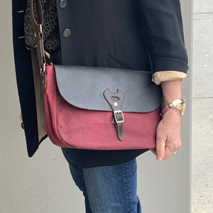 Canvas Shoulder Bag with Leather Trim | Burgundy