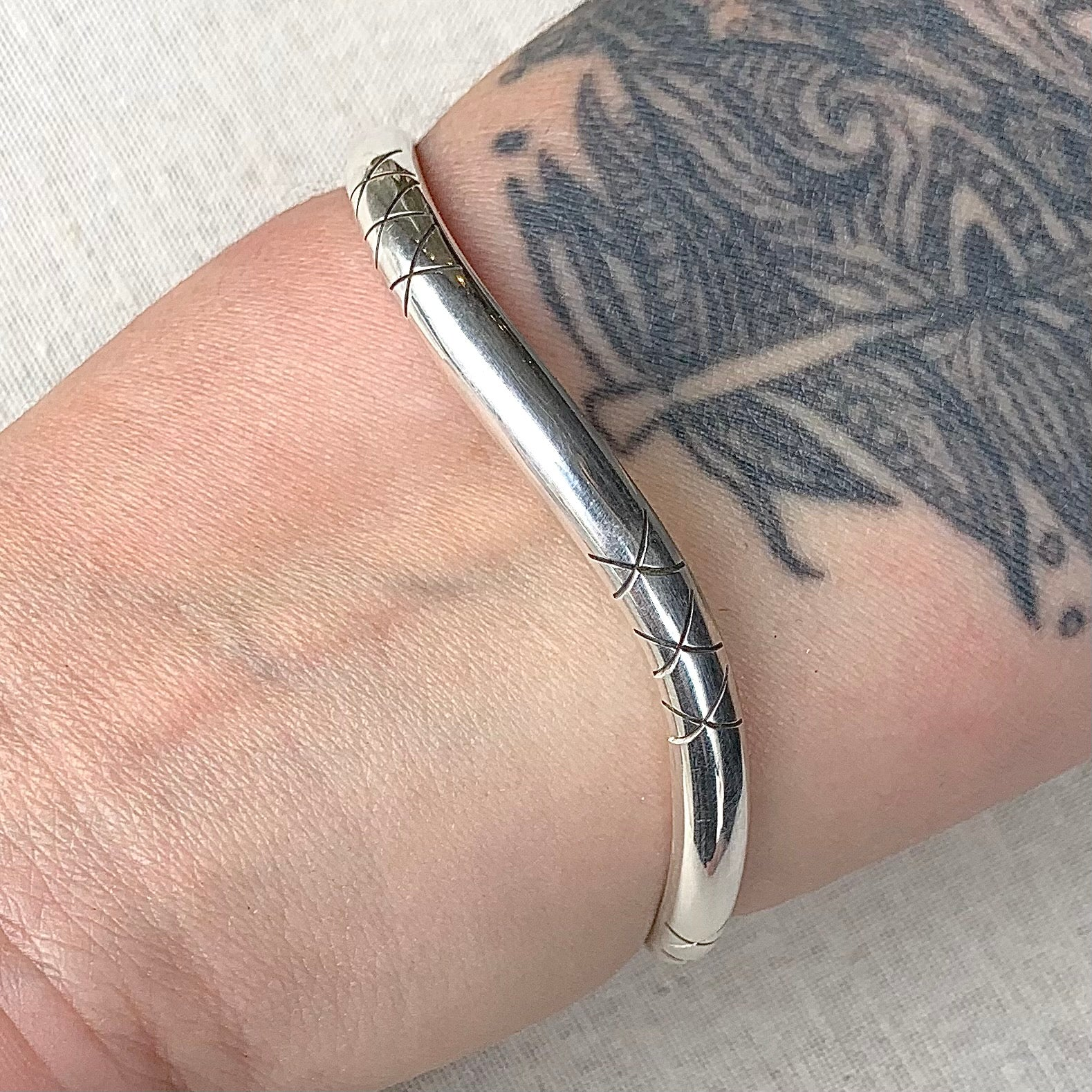 Wavy Sterling Bangle with X Detail