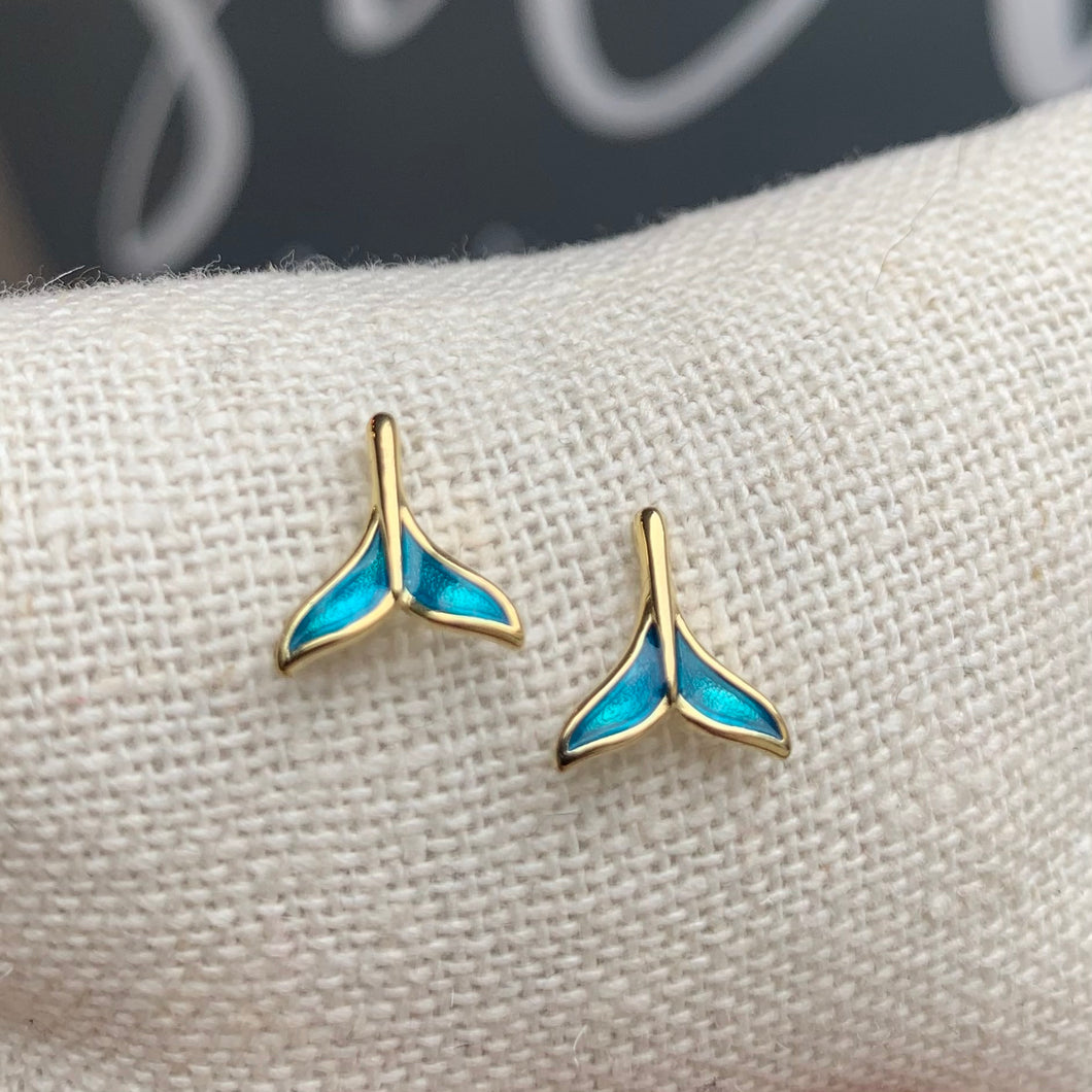 Sterling Silver post,Gold vermeil with Enamel Whale Tail Studs