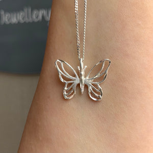 "Brushed Butterfly Pendant on 16"" Thin Curb Chain"