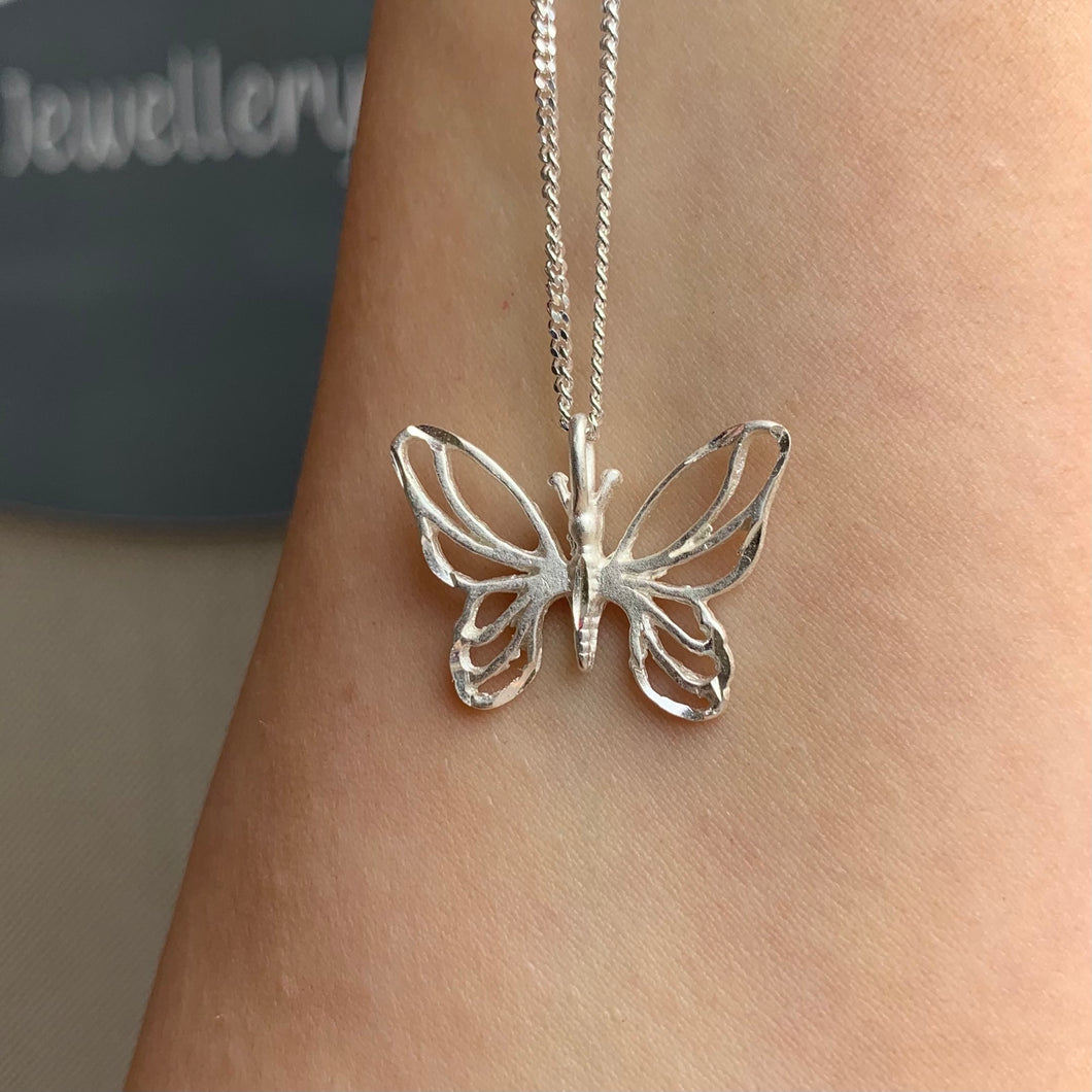 Brushed Butterfly Pendant on 16