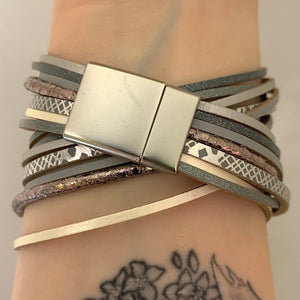Grey + Mixed Metal Double Wrap Multistrand Magnetic Bracelet
