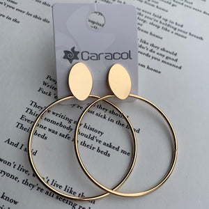 Elena Stud-Back Hoop Earrings | Gold Tone