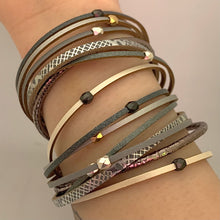 Load image into Gallery viewer, Grey + Mixed Metal Double Wrap Multistrand Magnetic Bracelet