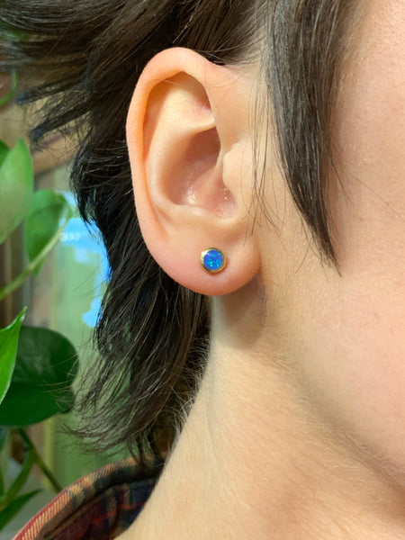 Plain Circle Blue Opal Studs | Gold
