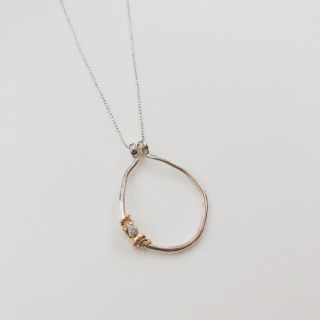 Circular Coil Stone Necklace L 18