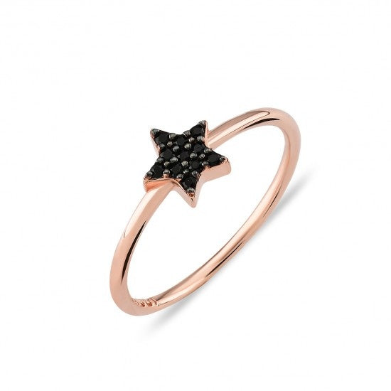 Black Pave Star Ring