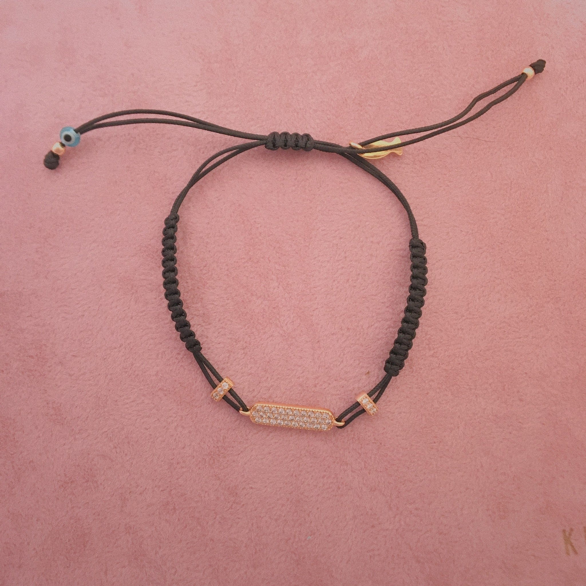 Rose Gold Bar w CZ Black Pull Cord