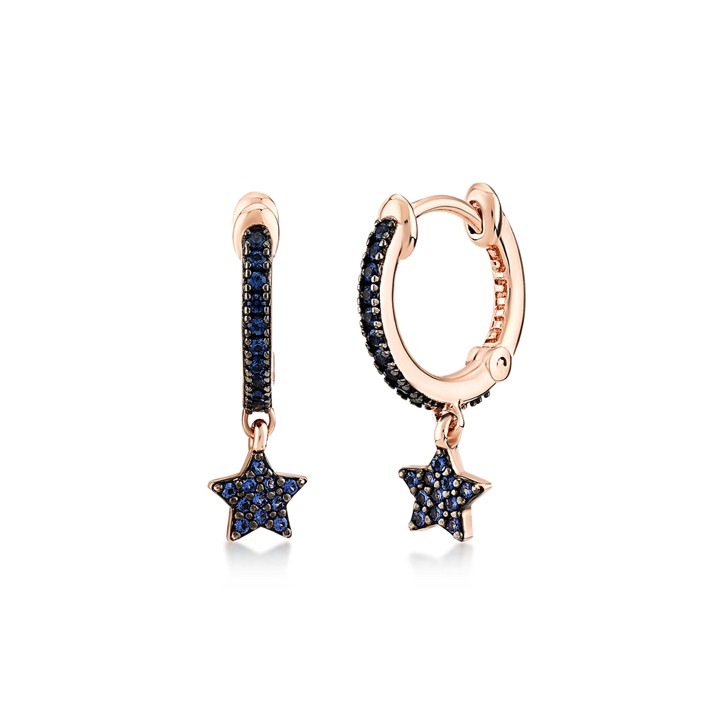 Rose Gold Blue Pave Star Drop Hoops