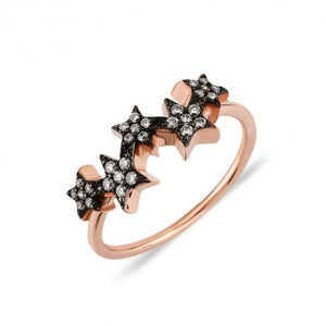 Rose Gold Multi Star Cz Ring