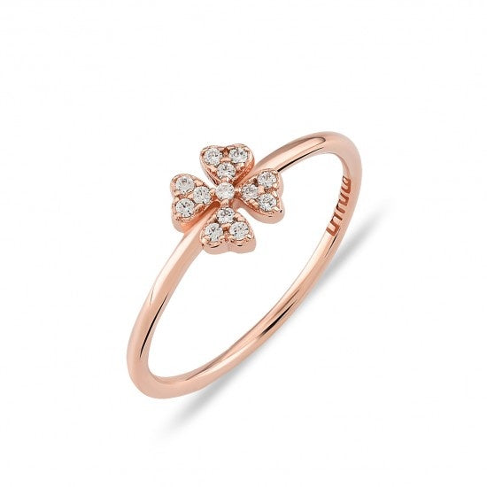 Rose Gold Pave Clover Ring