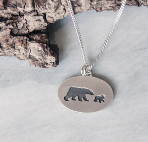Mama Bear + Single Cub Necklace | 18""
