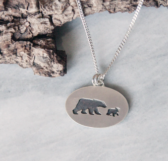 Mama Bear + Single Cub Necklace | 18