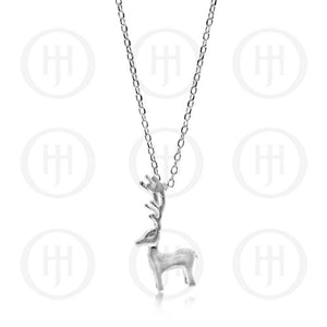 Silver Satin Deer Necklace |14-16""