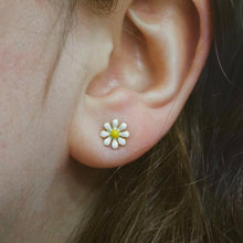 Load image into Gallery viewer, Silver Enamel Bee and Daisy Mis-Matched Studs
