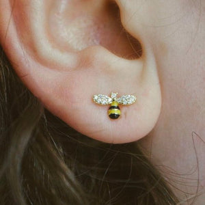 Silver Enamel Bee and Daisy Mis-Matched Studs