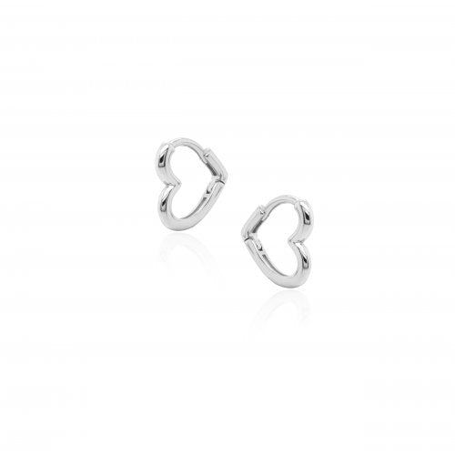 Silver Heart Hug Hoops