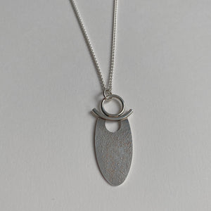"Sterling Fused Oval Pendant on 18"" Chain"