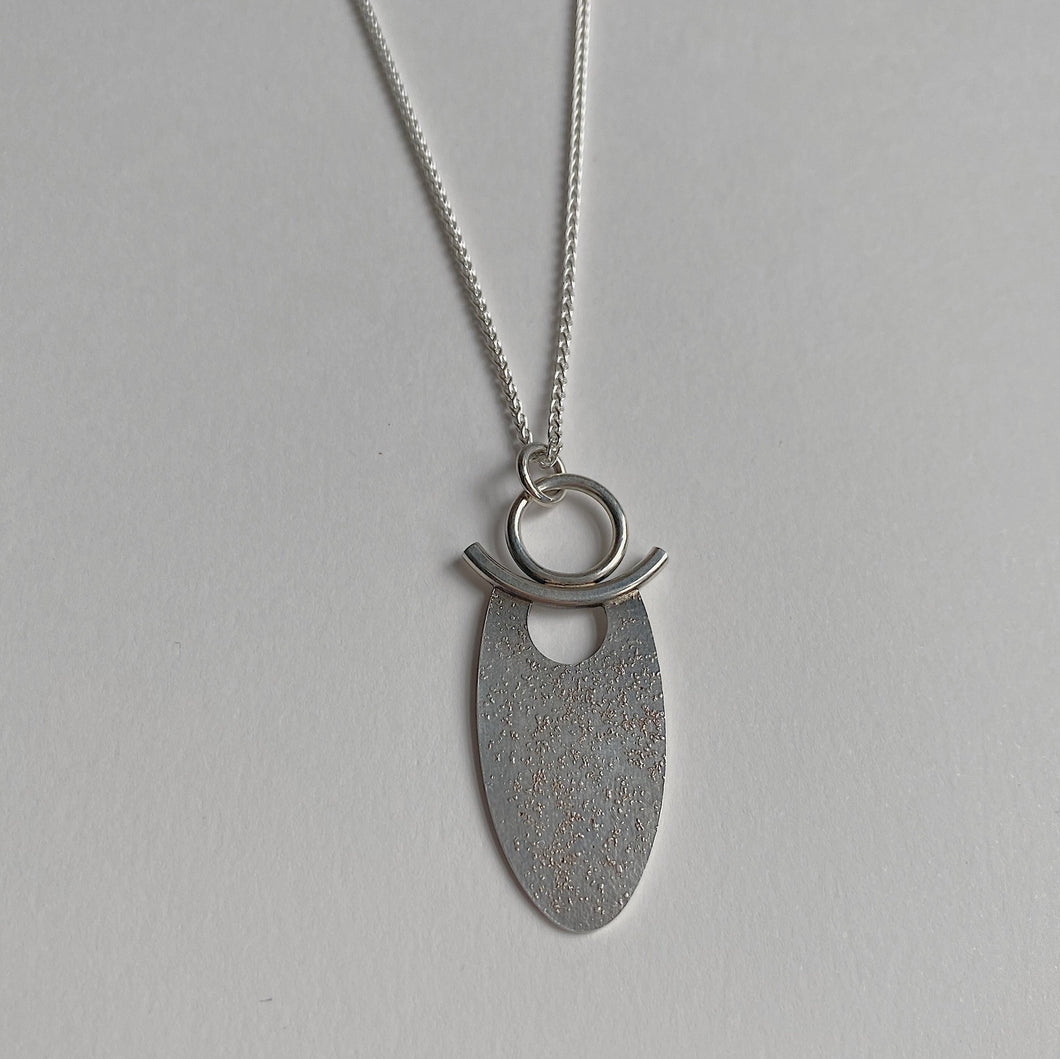 Sterling Fused Oval Pendant on 18