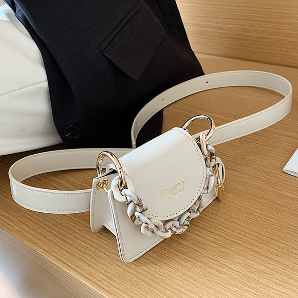 Solid color Mini Tote bag 2020 Summer New High-quality PU Leather Women's Designer Handbag Chain Shoulder Messenger Bag Belt bag
