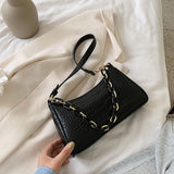 Crocodile Pattern Solid Color PU Leather Small Armpit Bags For Women 2020 Summer Chain Shoulder Handbags Travel Hand Bag