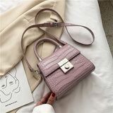 Stone pattern Small Tote bag 2020 Fashion New High-quality PU Leather Women's Designer Handbag Lock Shoulder Messenger Bag