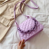 Quilted Threads PU Leather Crossbody Bags For Women 2020 Candy Color Chain Solid Color Travel Fashion Luxury Shoulder Handbags